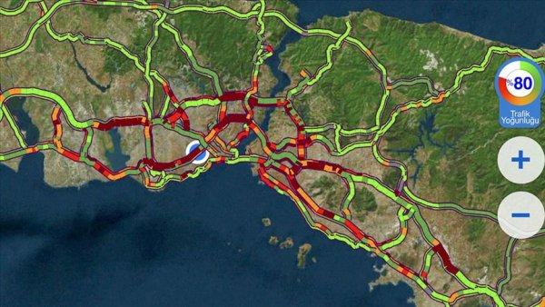 İstanbul da trafik yoğunluğu yüzde 80 e ulaştı