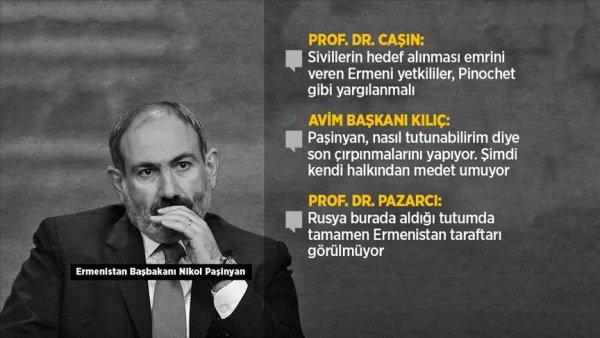 Paşinyan, halkını cepheye çağırarak Azerbaycan'ı sivil kayıplardan sorumlu tutmaya çalışıyor