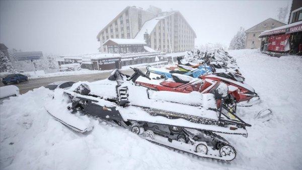 Kayak merkezlerinde kar yağışı
