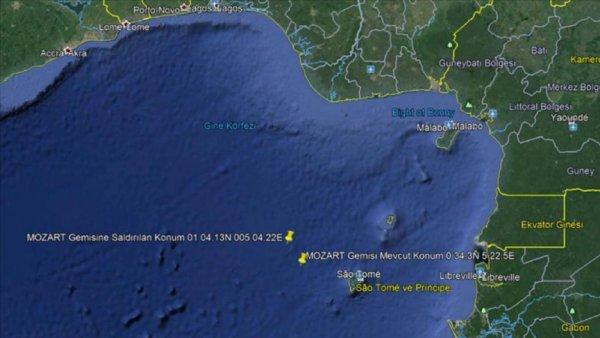 Saldırıya uğrayan Türk gemisi Gabon Port Gentil Limanı na hareket etti