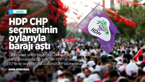 HDP CHP seçmeninin oylarıyla barajı aştı