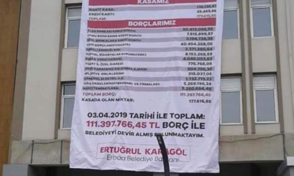 MHP li Başkan AKP li selefinden kalan borçları belediye binasına astırdı
