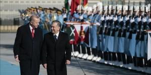 Erdoğan Özbekistan Cumhurbaşkanı Mirziyoyev i törenle karşıladı
